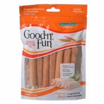 Healthy Hide Good 'n' Fun Triple-Flavor Twists - Beef, Pork & Chicken Regular - 6 Pack - Pack of 4