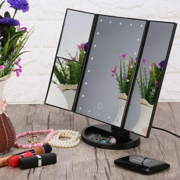 Tri-Fold Makeup Mirror,22 LED Lights 2X 3X Magnification Touch Screen Desktop Makeup Mirror(black)