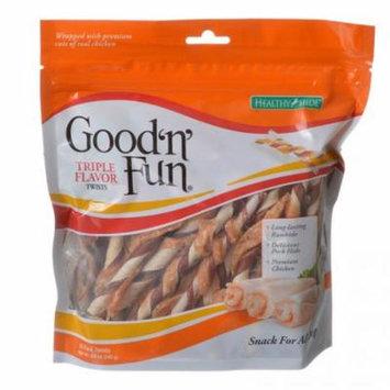 Healthy Hide Good 'n' Fun Triple-Flavor Twists - Beef, Pork & Chicken Regular - 22 Pack - Pack of 3