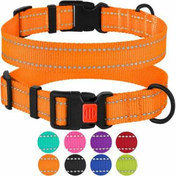 Reflective Dog Collar Safety Nylon Collars for Medium Dogs with Buckle, Orange