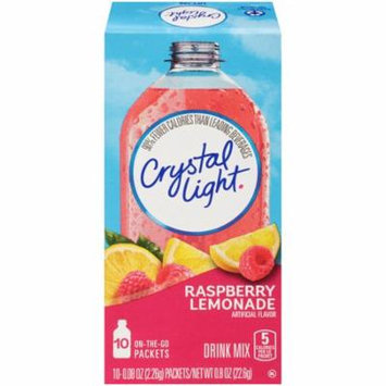 Crystal Light On-The-Go Raspberry Lemonade Drink Mix Packets, 10 Count (Pack of 12)