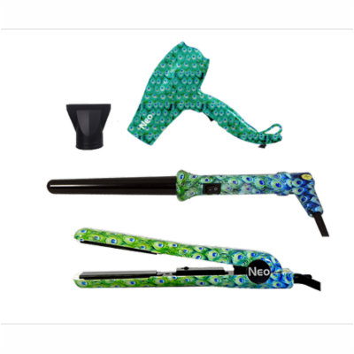 The Neo Choice 3 pcs Trio Complete Full Set W/ 1.25 Inch Hair Straightener, 18-25mm Curling Iron and Mini Hair Dryer (Peacock)