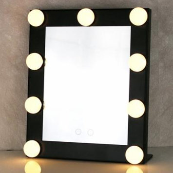 2018 New Upgraded Portable Led Bulb Lighted Makeup Mirror With Dimmer Stage US Plug Mirror With Lights Beauty Mirror Decorative Mirror(Black)