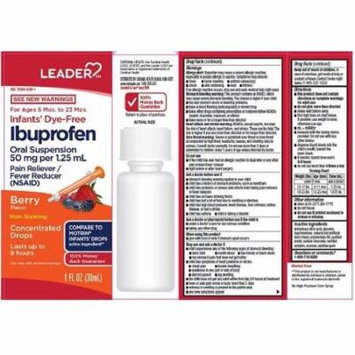 Leader Infant Ibuprofen Dye Free Berry Drops, 1oz 096295132052J643