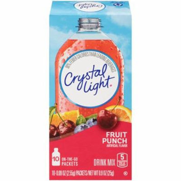 Crystal Light On-The-Go Fruit Punch Drink Mix Packets, 10 Count (Pack of 12)