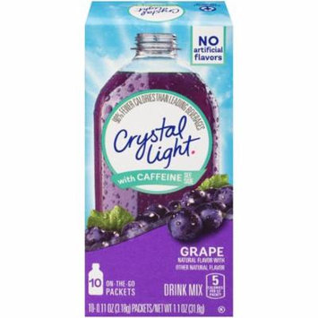Crystal Light On-The-Go Grape Energy Drink Mix with Caffeine Wrappers, 10 - 1.1 oz (Pack of 12)