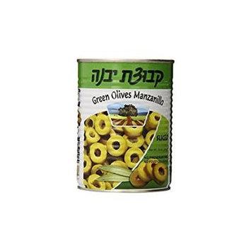 Kvuzat Yavne Green Olives Manzanillo Sliced 19 Oz. Pack Of 3.