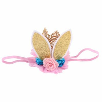 Rabbit Ears Crown Hairband Flower Headband Party Headwear Headdress for Baby Girls (Gold)
