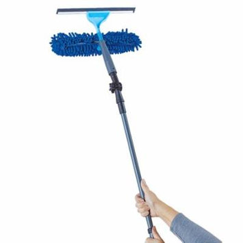 2 in 1 Window Cleaning Tool Kit with Adjustable Angled Head - Includes Pad & Squeegee