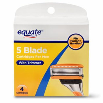 Equate 5 Blade Cartridges for Men with Trimmer, 4 Ct