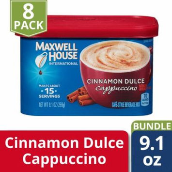 Maxwell House International Cafe Cinnamon Dulce Cappuccino Instant Coffee Beverage Mix, 9.1 oz. Tub (Pack of 8)