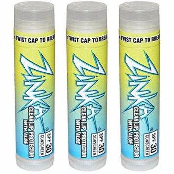 Zinka Clear Lip Protector With Aloe SPF 30 Sunscreen Lip Balm .15 Ounce (Pack of 3)