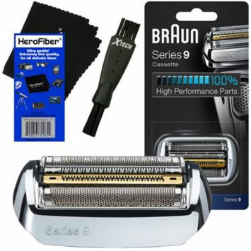 Braun 92S Series 9 Foil & Cutter Replacement Head for 9075, 9080, 9090, 9093, 9095, 9240, 9242, 9250, 9260, 9280, 9290, 9291, 9292, 9293, 9295, 9296, 9297, 9299 Shavers + Shaver Brush + HeroFiber