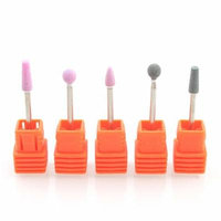 5Pcs Quartz Nail Drill Bits Round Cones Cutter Nail Grinding Head Nail Polish Head For Manicure Machine Nail Art Tool