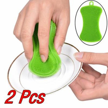 Mosunx 2Pcs Silicone Dish Washing Sponge Scrubber Kitchen Cleaning Antibacterial Tool