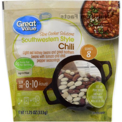 Great Value Slow Cooker Solutions Souther Style Chili, 11.75 oz