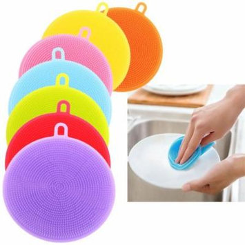 Mosunx 7Pcs Silicone Dish Washing Sponge Scrubber Kitchen Cleaning Antibacterial Tool