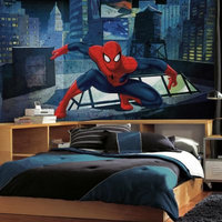 York Wallcoverings, Inc. Spiderman - Ultimate Spiderman CityScape XL Chair Rail Prepasted Mural 6' x 10.5' - Ultra-strippable