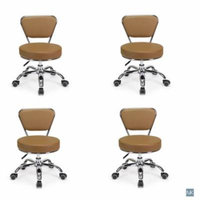 Set of 4 Dayton Pedicure Stool (Cappuccino) Pneumatic, Adjustable Height, Perfect for Nail Salon, Pedicure spa