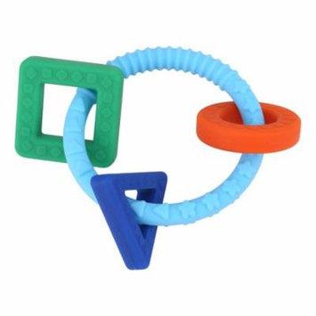 Teething Bracelet,Baby Infant Geometric Shapes Teething Toys Silicone Teething Ring(blue)