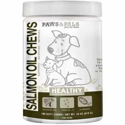 Paws & Pals Wild Alaskan Salmon Fish Oil Chews For Dogs - With Omega 3 & 6 For Cat Pet Supplement Treats