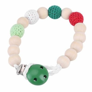 Pacifier Strap,Wooden Soother Holder Crochet Wooden Beads Chain Baby Shower Feeding Toy for Baby Infant(green)