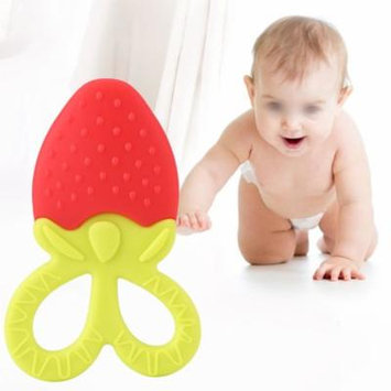 Colorful Teething Toy,Soft Silicone Baby Infant Toddler Teething Toys Fruit Teethers for Babies(Red Strawberry)