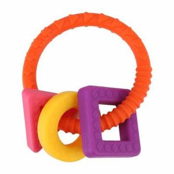 Teething Bracelet,Baby Infant Geometric Shapes Teething Toys Silicone Teething Ring(Orange)