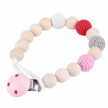 Pacifier Strap,Wooden Soother Holder Crochet Wooden Beads Chain Baby Shower Feeding Toy for Baby Infant(pink)