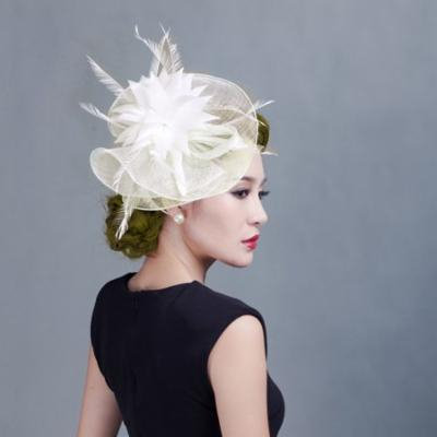 Fascinator Hat, Coxeer Pretty Flower Feather Pillbox Head Pieces Hair Clip Hat Headdress for Wedding Cocktail Party Women Ladies Girls (White)