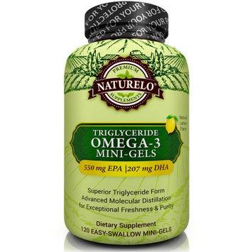 Naturelo Premium Fish Oil Supplement - Mini Gels - 960mg Triglyceride Omega-3 Per Serving - 120 Softgels 2 Month Supply
