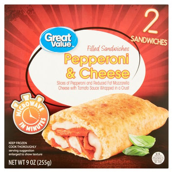 Great Value Pepperoni & Cheese Filled Sandwiches, 9 oz, 2 Count