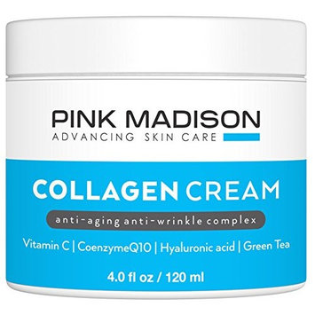 Skin Tightening Collagen Serum Cream with Hyaluronic Acid Anti Aging Face Treatment Fine Lines Wrinkles Men Women 4 Ounce Jar
