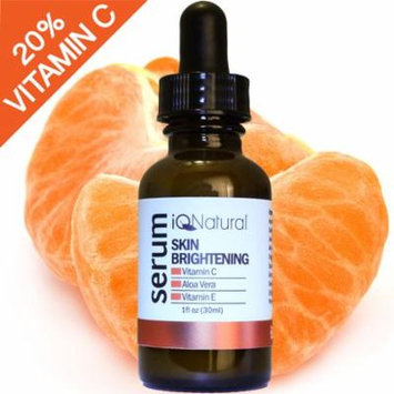 iQ Natural Vitamin C Serum with Hyaluronic Acid & Vitamin E For Face   All Natural Moisturizing, Anti-Aging & Brightening   Collagen Boosting Anti-Wrinkle Facial Serum & Moisturizer - 1oz