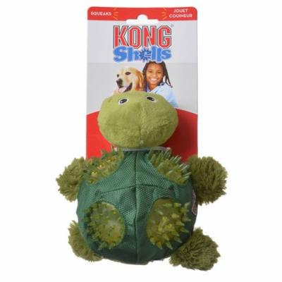 Kong Shells Textured Dog Toy - Turtle Medium - 1 Pack - Pack of 3