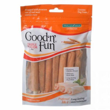 Healthy Hide Good 'n' Fun Triple-Flavor Twists - Beef, Pork & Chicken Regular - 6 Pack - Pack of 6