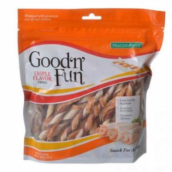 Healthy Hide Good 'n' Fun Triple-Flavor Twists - Beef, Pork & Chicken Regular - 22 Pack - Pack of 12