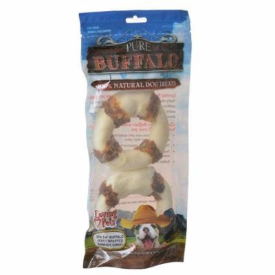 Loving Pets Pure Buffalo Jerky Wrapped Rawhide Donuts 2 Pack - (3-4 Rings) - Pack of 6