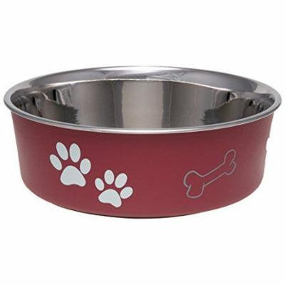 Loving Pets Stainless Steel & Merlot Dish with Rubber Base Small - 5.5