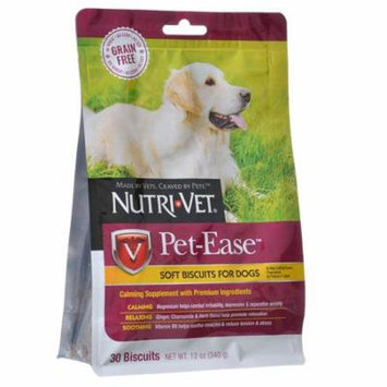 Nutri-Vet Pet-Ease Grain Free Soft Biscuits for Dogs 30 Biscuits - (12 oz) - Pack of 12