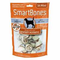 SmarBones - Sweet Potato Flavor Mini - Dogs up to 10 Lbs (16 Pack) - Pack of 2