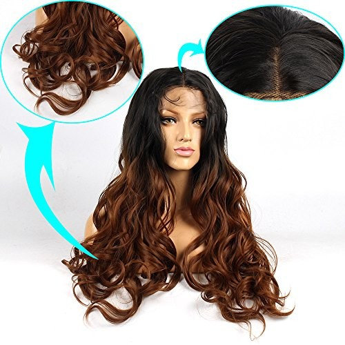 Life Diaries Long Natural Wave Wavy Ombre Brown Lace Front Wigs No Tangle 250% Density Hand Tied Synthetic Kanekalon for Women Fashion Wigs