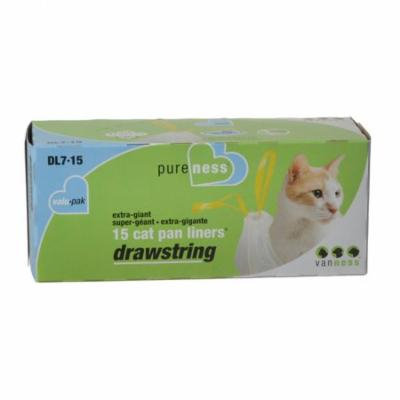 Van Ness Drawstring Cat Pan Liners X-Giant (15 Pack) - Pack of 6