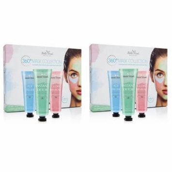 Belle Azul 360 Mask Collection - 3 Piece Face Mask Kit with Shea Butter - Anti Aging, Moisturizing and Detoxifying Face and Neck Masks - No Parabens or Phthalates (3x30ml /3x1.0fl.oz) (Pack of 2)