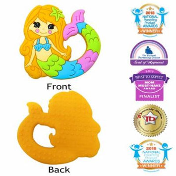 Silli Chews Cute Mermaid Baby Teether Soft Silicone Textured Teething Toy Freeze or Cool Oral Infant Pain Relief for Gums or Drool