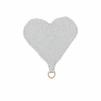 Under the Nile Baby Heart Lovey with Teething Ring Toy Grey Stripe 13