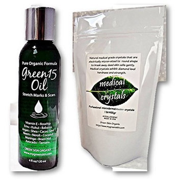 Best Stretch Mark STARTER KIT microdermabrasion medical crystals & Organic Green15 Oil