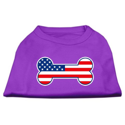 Mirage Pet Products 5108 SMPR Bone Shaped American Flag Screen Print Shirts Purple S 10