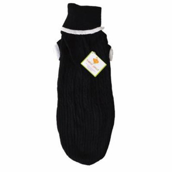 Fashion Pet Cable Knit Dog Sweater - Black Large (19-24 From Neck Base to Tail) - Pack of 3