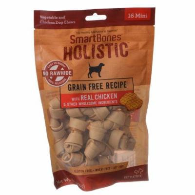 SmartBones Holistic Dog Chews - Chicken Mini - 16 Pack - (Dogs 5-10 lbs) - Pack of 10